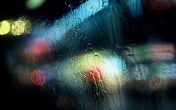 lights, water, rain, window, glass, traffic light, bokeh
