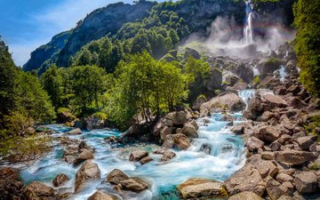 trees, river, rocks, nature, stones, forest, waterfall, switzerland, rainbow, stream, valley, national park