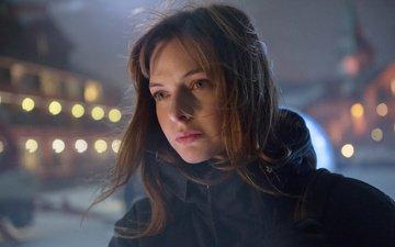 девушка, взгляд, улица, снеговик, волосы, лицо, актриса, ветер, ребекка фергюсон, the snowman