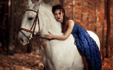 лошадь, девушка, взгляд, модель, волосы, губы, лицо, макияж, конь, синее платье