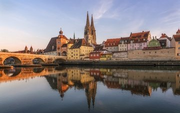 река, мост, архитектура, германия, бавария, регенсбург