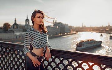 shore, girl, bridge, look, model, face, the wind, belly, long hair, yuri lyamin