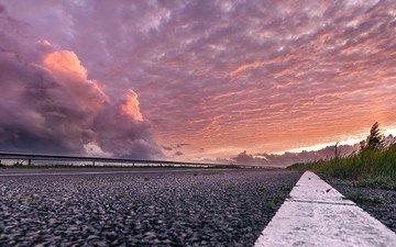 the sky, road, clouds, shore, sunset, landscape, horizon, twilight