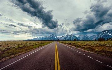 небо, дорога, облака, горы, природа