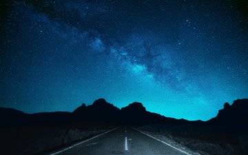 небо, дорога, горы, природа, звезды, млечный путь