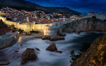 ночь, огни, горы, скалы, море, город, дома, крепость, хорватия, дубровник