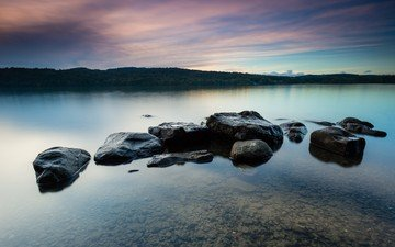 the sky, clouds, water, lake, rocks, stones, landscape, horizon