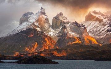 горы, снег, природа, водоем, пики