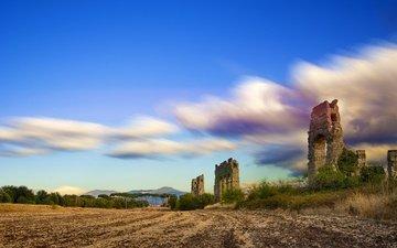 небо, облака, руины, италия, рим, лацио, аква клавдия