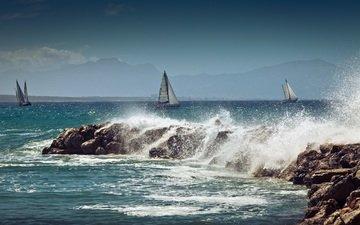 волны, море, парусник, лодки, побережье