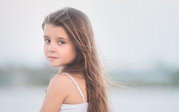взгляд, дети, девочка, волосы, лицо, ребенок
