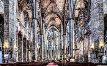 церковь, испания, барселона, каталония, santa maria, санта-мария-дель-мар