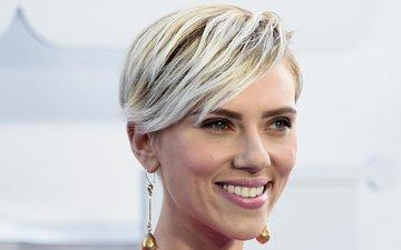 girl, blonde, smile, portrait, look, hair, face, actress, scarlett johansson