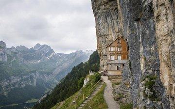 трава, деревья, горы, скалы, лестница, тропинка, дом, утес