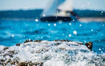 берег, волны, море, капли, брызги, пена