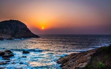 небо, скалы, восход, солнце, волны, море, горизонт, побережье