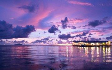 облака, природа, закат, отражение, море
