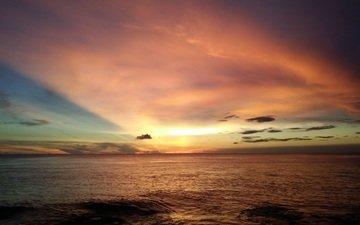 небо, облака, закат, море, горизонт