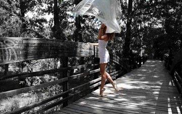 girl, park, bridge, ballerina