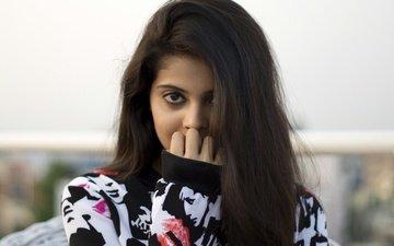 девушка, взгляд, волосы, лицо, актриса, индийская, шравья
