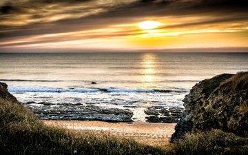 небо, солнце, закат, лучи, пейзаж, море, песок, горизонт, побережье