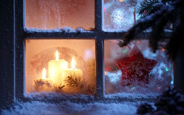 candles, new year, star, window, christmas, snowflake