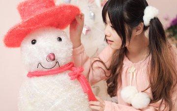 новый год, девушка, брюнетка, снеговик, рождество, азиатка