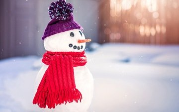 snow, winter, snowman, scarf