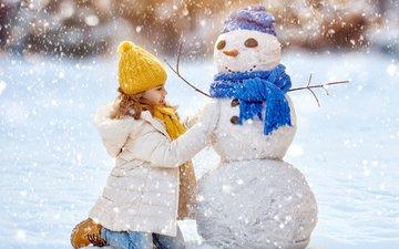 snow, new year, winter, children, girl, snowman, child, christmas
