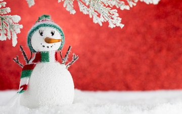 snow, new year, winter, snowman, christmas, decoration
