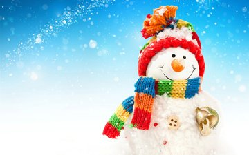 snow, new year, winter, snowman, hat, christmas, scarf, bell