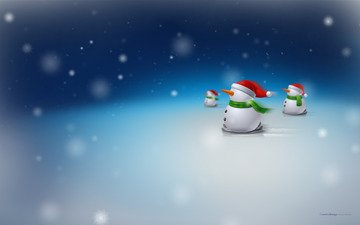 snow, christmas, snowmen, new year