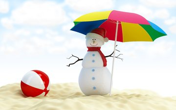 new year, beach, snowman, umbrella, christmas, the ball