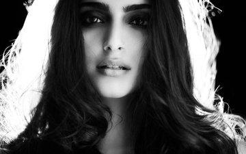девушка, портрет, взгляд, чёрно-белое, волосы, губы, лицо, актриса, сонам капур