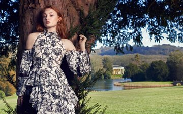 tree, girl, dress, look, red, model, face, actress, sophie turner, bare shoulders