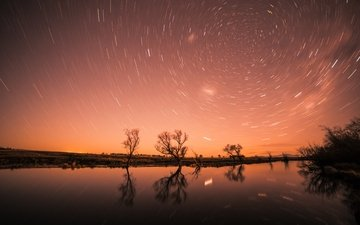 the sky, night, trees, water, river, nature, reflection, stars