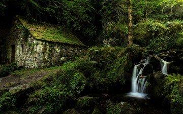 природа, лес, ручей, водопад, дом, франция, франци, овернь