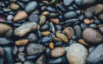 stones, pebbles, sea, surface