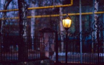 light, night, snow, the fence, street, lantern