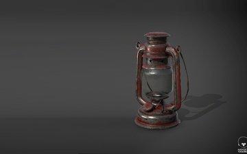 арт, фон, лампа, фонарь, керосиновая лампа