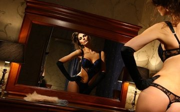 девушка, отражение, зеркало, модель, фигура, секси, тело, нижнее белье