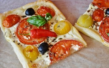еда, овощи, выпечка, помидоры, оливки, перец, пицца, маслины, помидорами, перцы