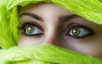 глаза, девушка, взгляд, лицо, восток, платок