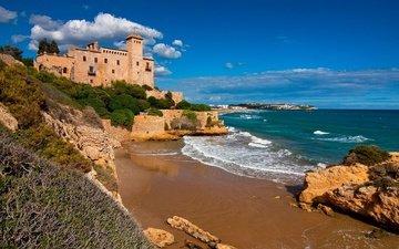 the sky, clouds, rocks, sea, castle, coast, spain, catalonia, tamarit castle, costa dorada, tarragona