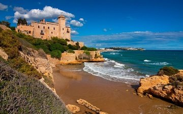 небо, облака, скалы, море, замок, побережье, испания, каталония, tamarit castle, costa dorada, таррагона