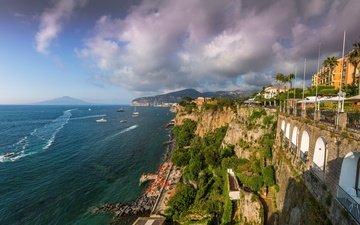 the sky, clouds, mountains, rocks, sea, yachts, panorama, coast, palm trees, home, italy, boats, sorrento, horizon