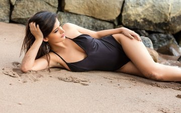 stones, girl, sand, brunette, swimsuit, per-anders nilsson