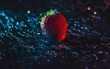 капли, ягода, клубника, боке, капли воды