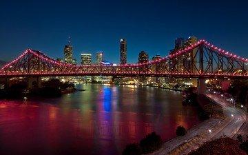 дорога, огни, вечер, мост, город, австралия, высотки, брисбен