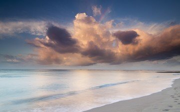 the sky, clouds, shore, sea, sand, beach, traces